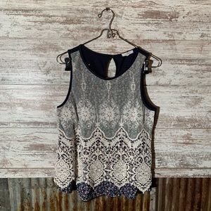 Maurices Navy Floral Tank with Lace Overlay Size M